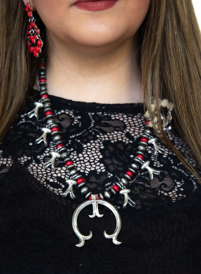 The Pierceton Red Stone Squash Blossom Necklace with Naja Pendant