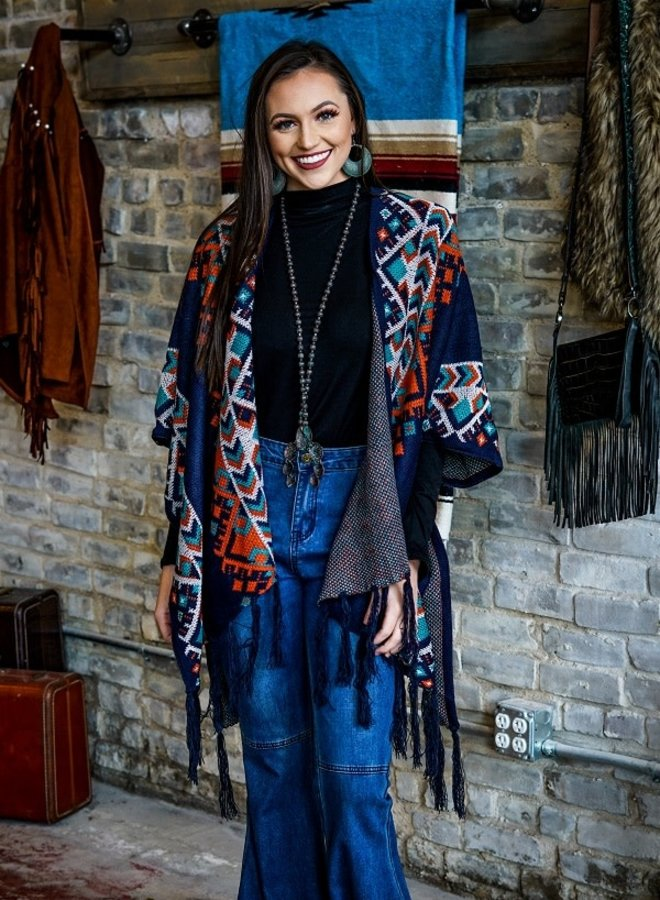 The My Town Aztec Navy and Turquoise Fringe Poncho