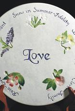 """Message Trivet 8"""" Round Love Wedding Wishes"""