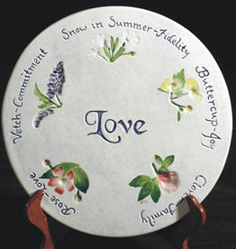 "Message Trivet 8"" Round Love Wedding Wishes"