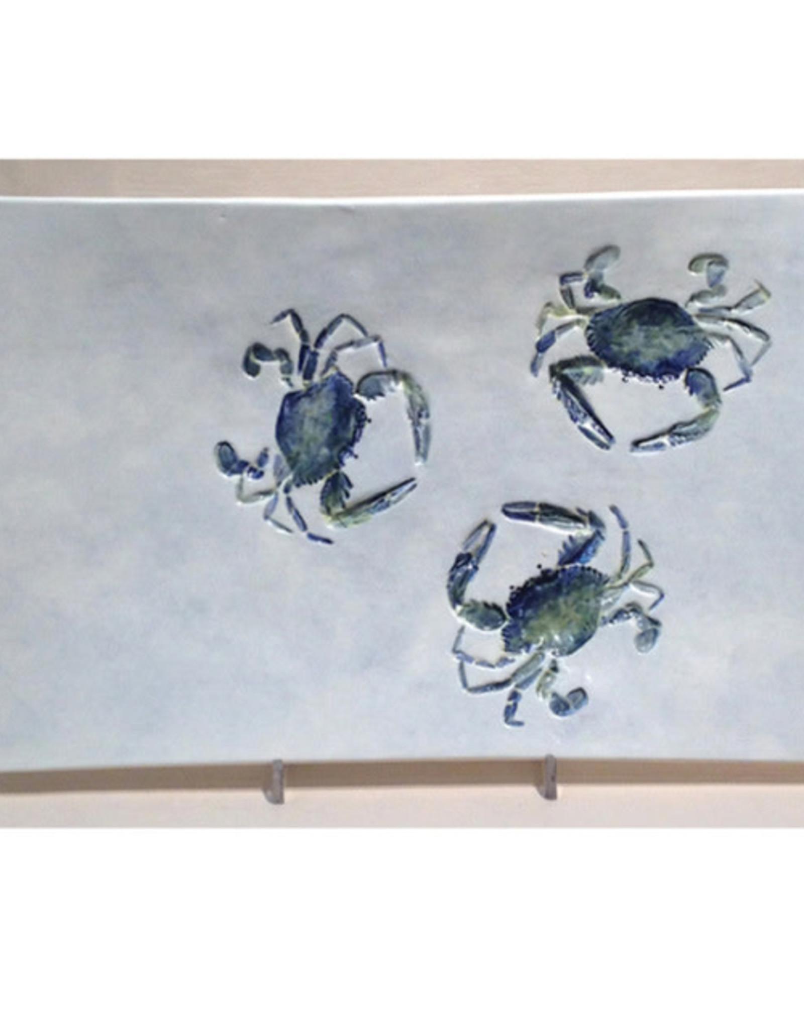 """Tray  14"""" x 8"""" Three Crabs"""