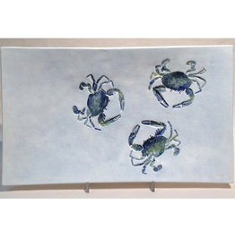 "Tray  14"" x 8"" Three Crabs"
