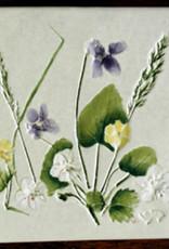 """Trivet or Tile 4.25"""" Cinquefoil Strawberry Violets"""