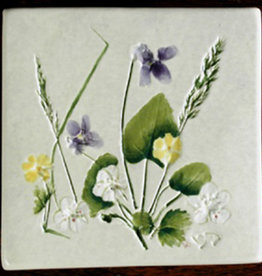 "Trivet or Tile 4.25"" Cinquefoil Strawberry Violets"