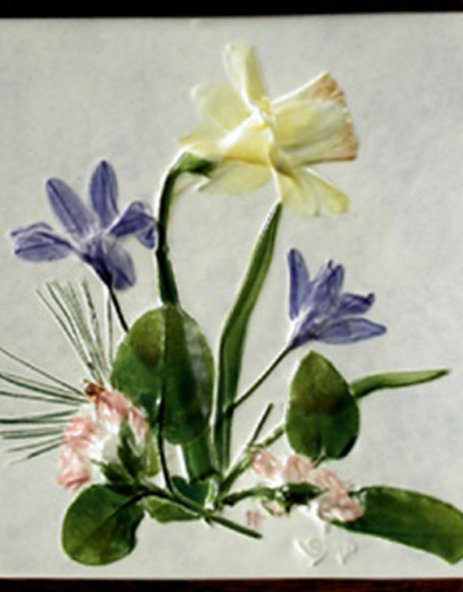 """Trivet or Tile 4.25"""" Daffodil Mayflower Vinca"""