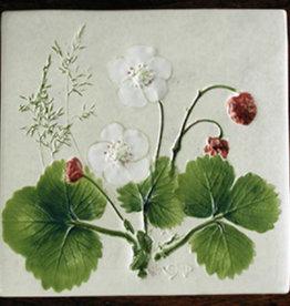 """Trivet or Tile 4.25"""" Willd Strawberry Berries"""