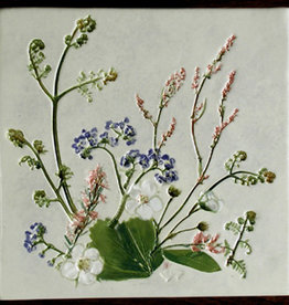 "Trivet or Tile 6"" Square Strawberry Sorrel Forget Me Not"