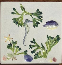 "Trivet or Tile 6"" Square Sea Creatures"