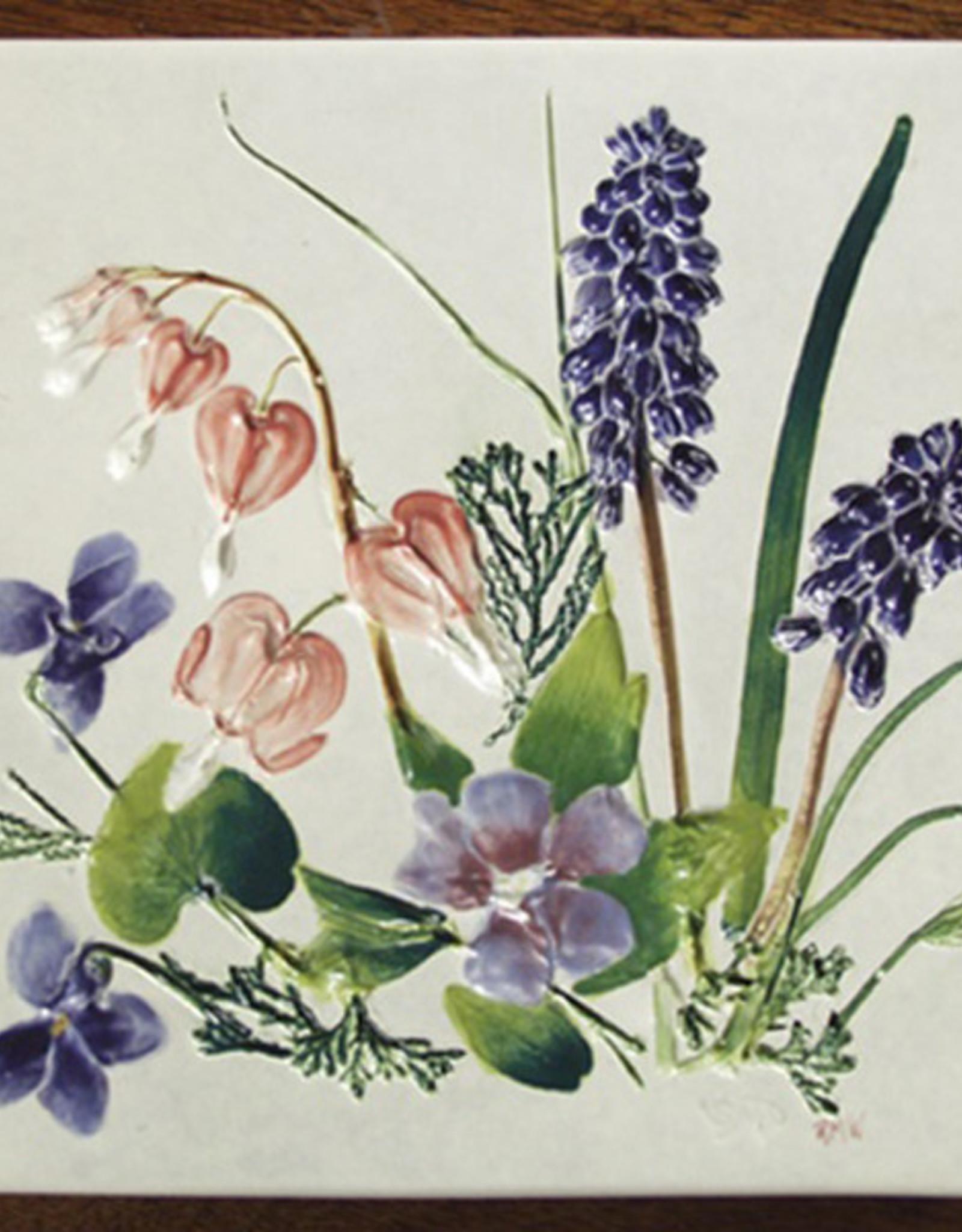"""Trivet or Tile 6"""" Square Bleeding Heart Vinca Grape Hyacinth"""