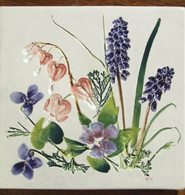 "Trivet or Tile 6"" Square Bleeding Heart Vinca Grape Hyacinth"