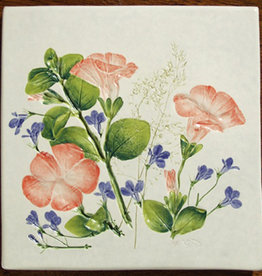 "Trivet or Tile 6"" Square Melon Flower Lobelia"
