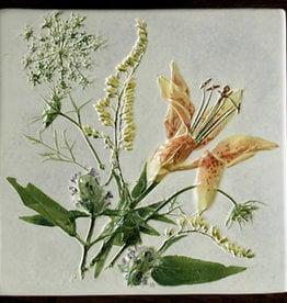 "Trivet or Tile 6"" Square Lily Goldenrod Healall"