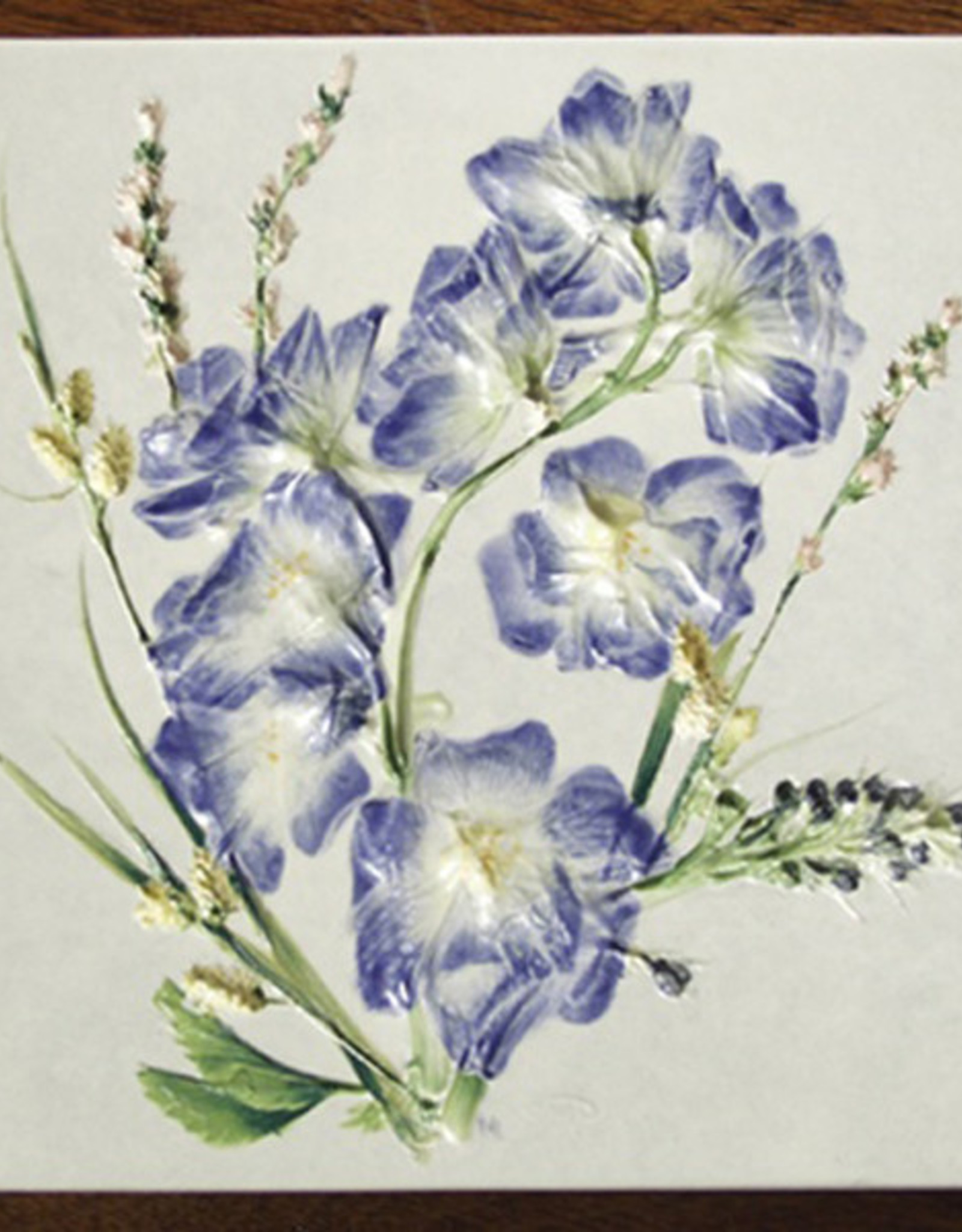 "Trivet or Tile 6"" Square Delphinium"