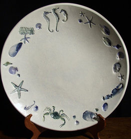 "Bowl 15"" Sea Creatures Blue Green"