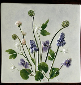 "Trivet or Tile 6"" Square Grape Hyacinth Anemone Fiddlehead"