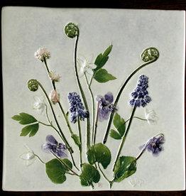 "Trivet or Tile 6"" Square Grape Hyacinth Anemone Fiddlehead"