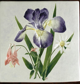 "Trivet or Tile 6"" Square Iris Columbine Daisy"