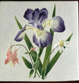 "Trivet or Tile 6"" Square Iris Columbine Daisy"
