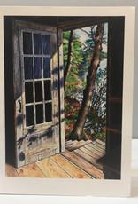 Note Card by JP, Cabin Door, Kezar lake, Maine, 5 x 7