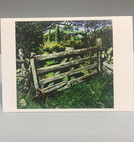 Note Card by JP, Gate With Wheel, 5 x 7