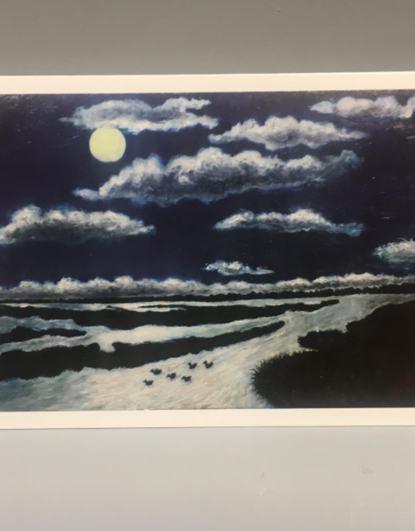 Note Card by JP, Moon Marsh Swimming Ducks, 5 x 7