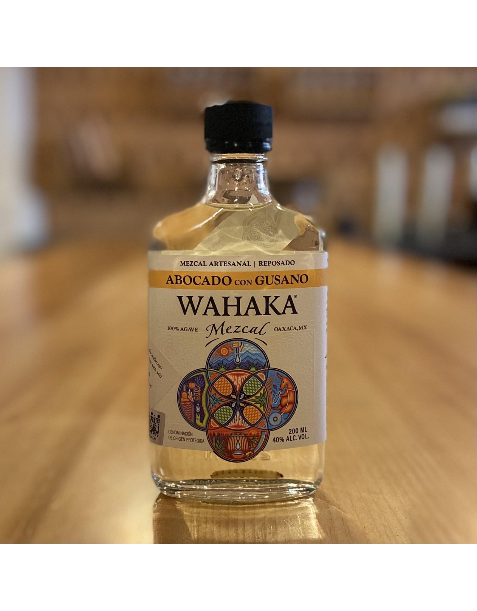 """Organic Wahaka """"Abocado con Gusano"""" Reposado Mezcal w/Agave Worm 200ml - Oaxaca, Mexico"""