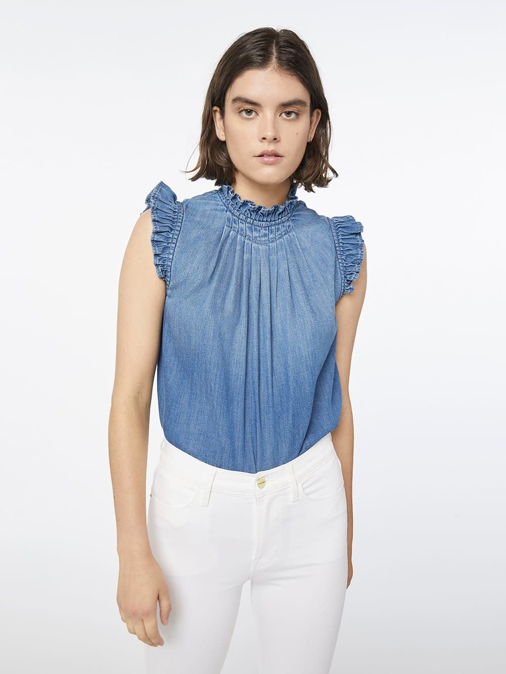 Frame Ruffle Denim Top