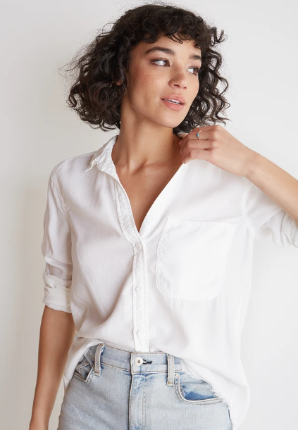 Bella Dahl Frayed Hem Shirt Tail