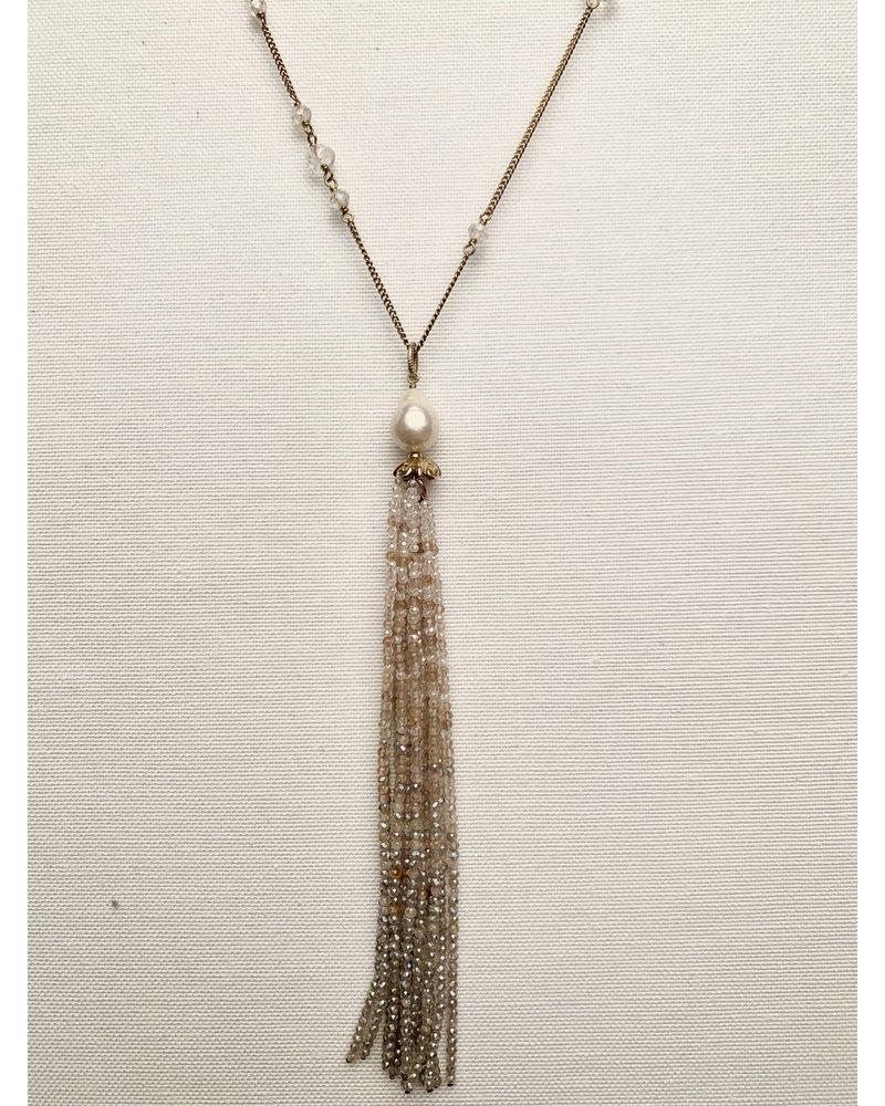 Chan Luu Crystal Tassel Long Necklace
