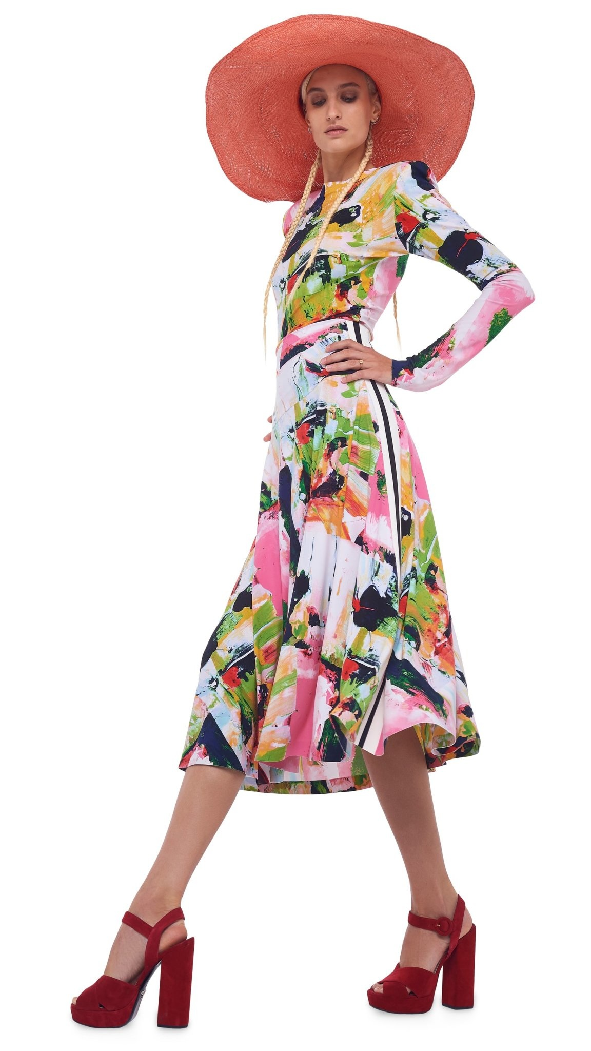 Norma Kamali Side Stripe Flared Skirt