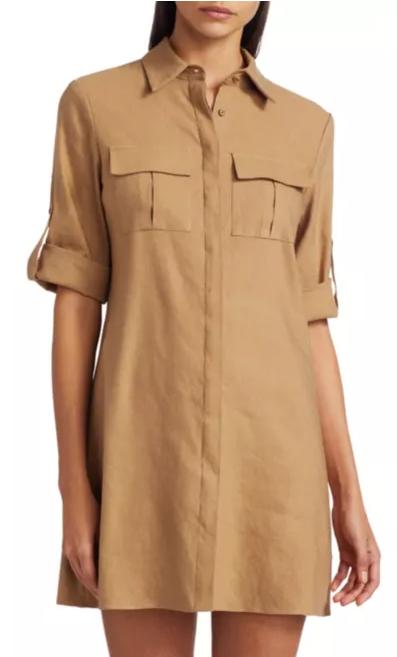 Alice + Olivia Kiera Rolled Cuff Shirtdress