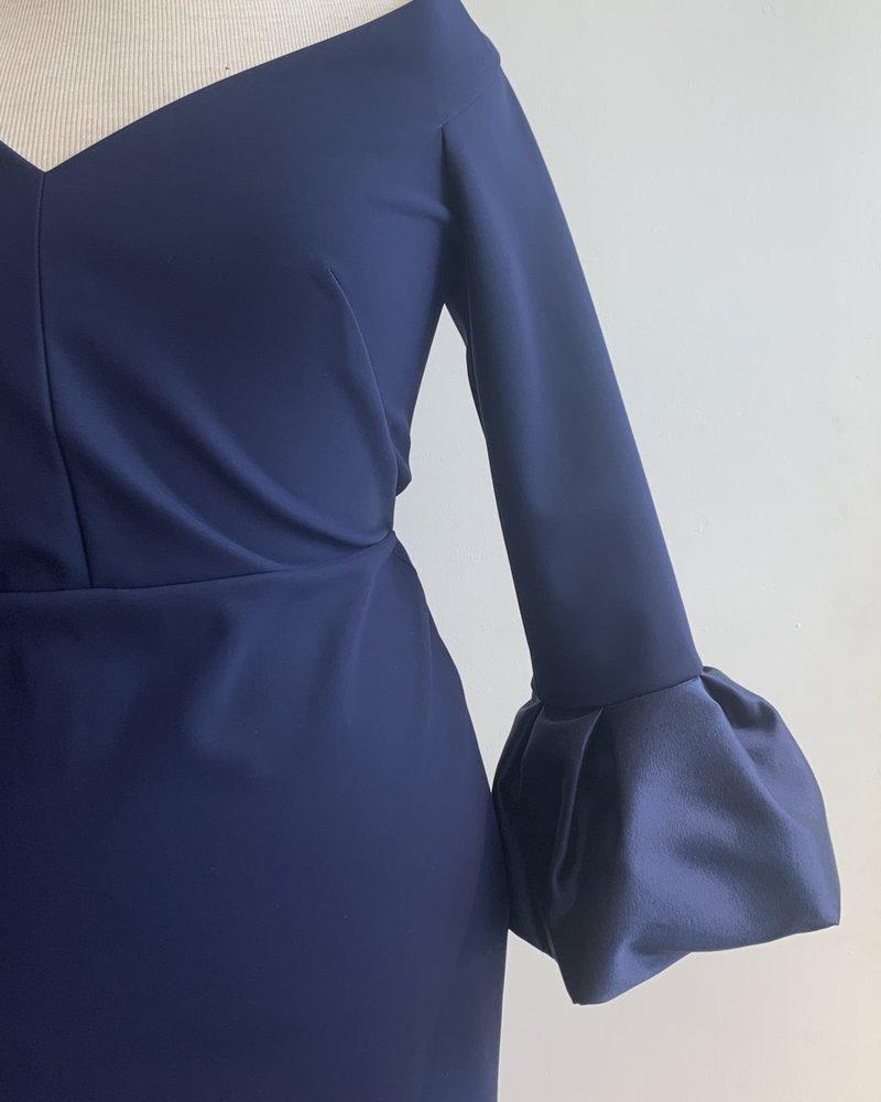 Greta Constantine V-Neck Dress W/ Cuff
