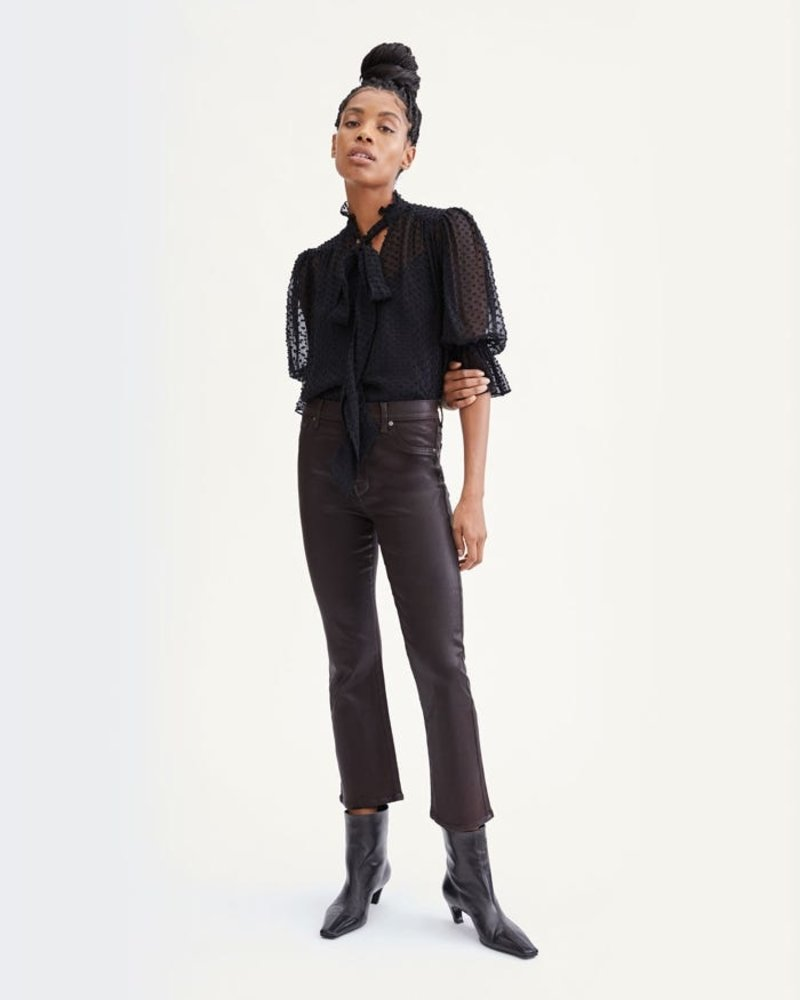 Seven for all Mankind Tie Neck Puff Sleeve Top
