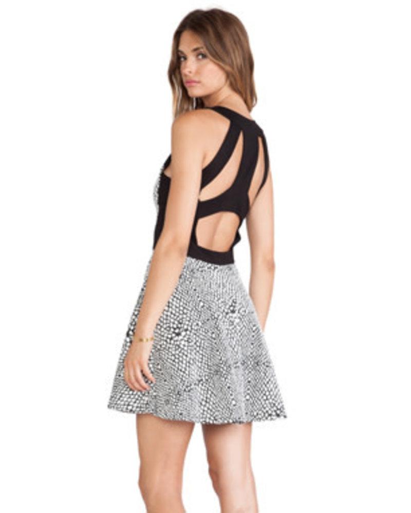 Parker NY Ramona Combo Dress/ Black White/ S