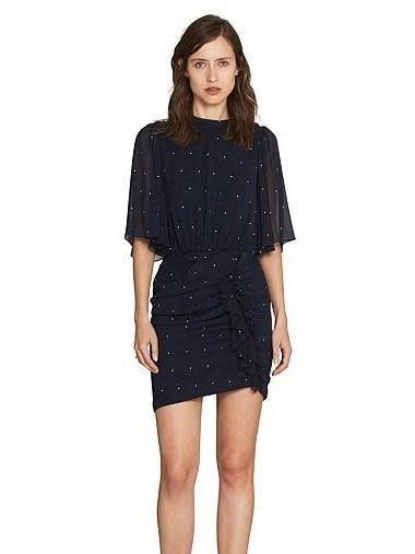 Scarlett Draped Dress/ Navy Spots/ 10