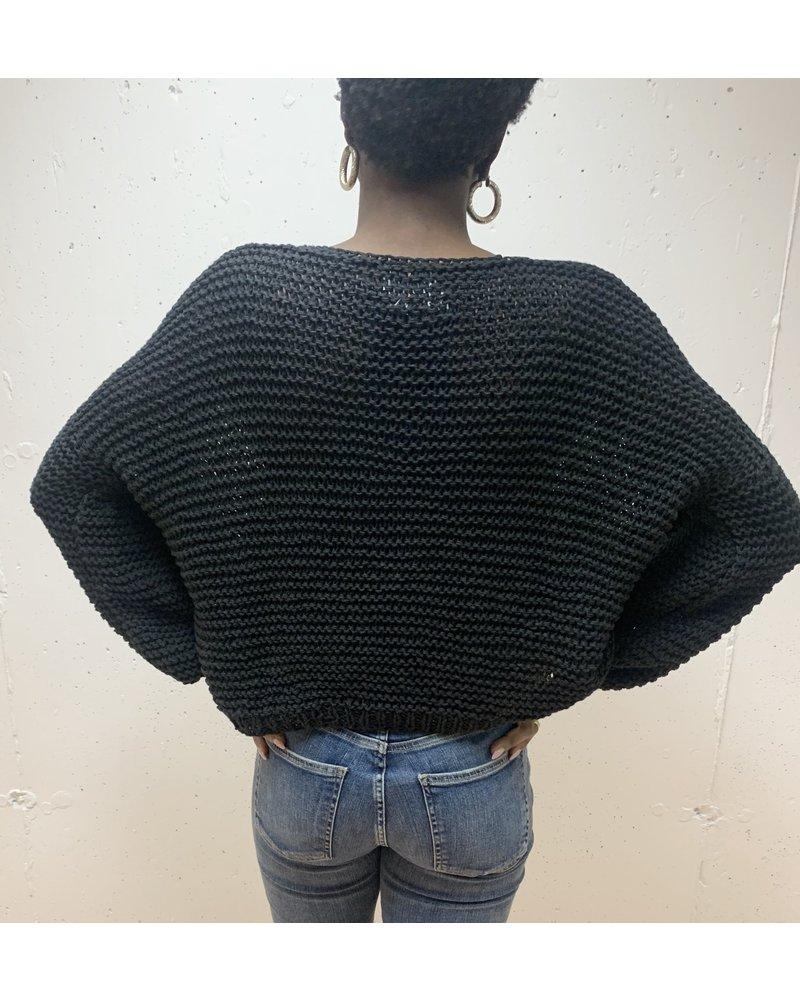 First Born Knitwear Garter V Neck Black