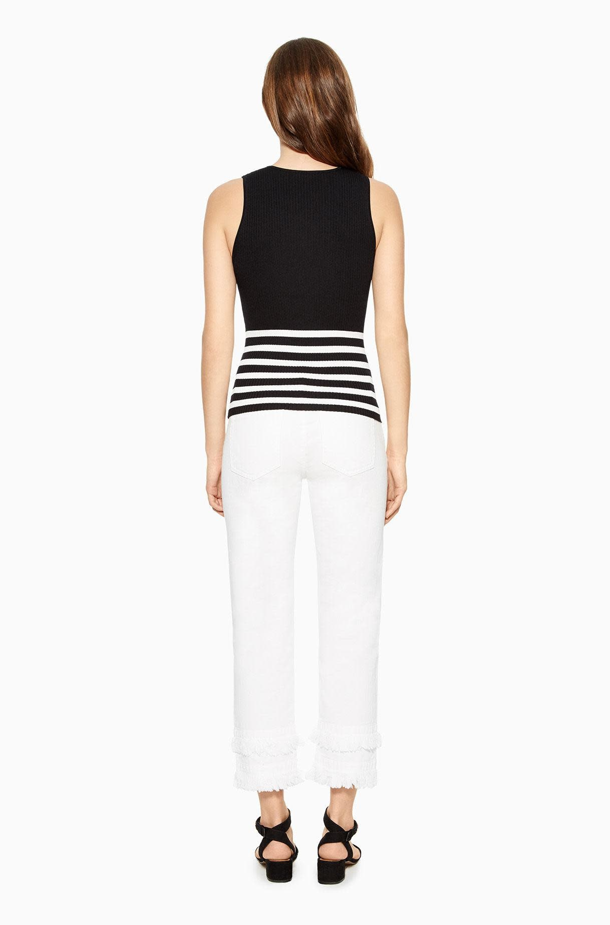 Parker NY Winifred Top/ Black White/ L