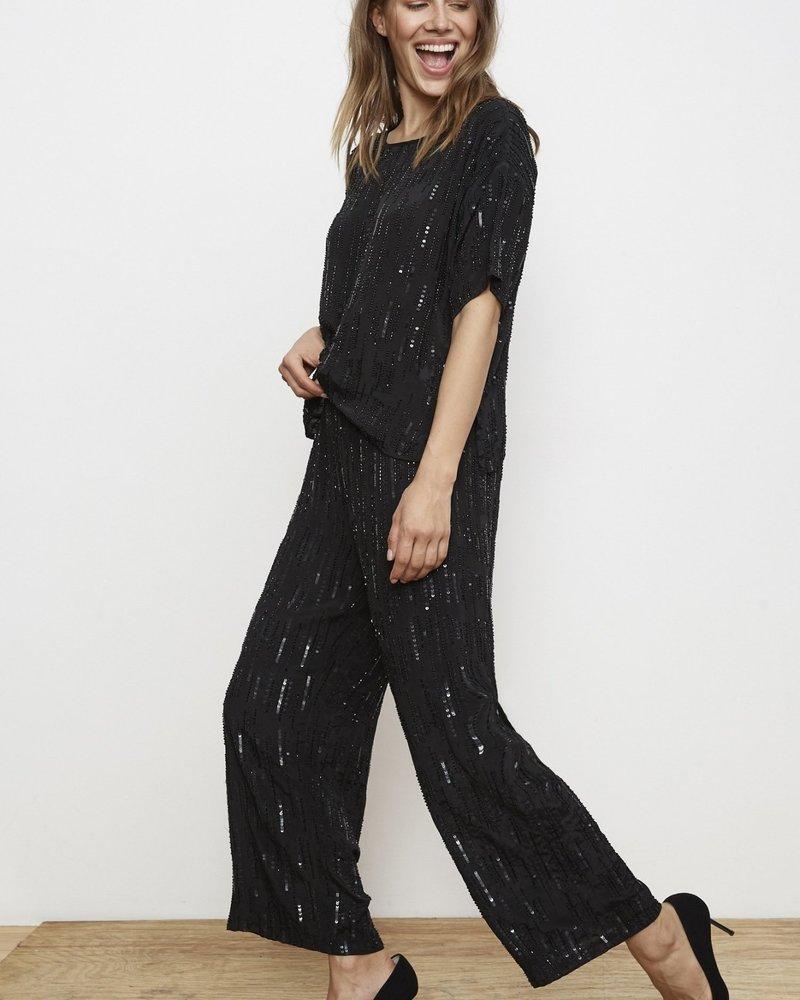 Velvet Raindrop Sequin Pant/ Black/ S