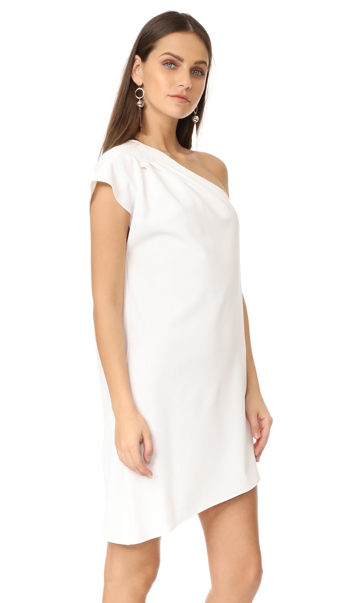 Alice + Olivia Melina One Shoulder Dress/ White/ 12