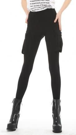 Norma Kamali Cargo Footie Legging/ Black/ XS