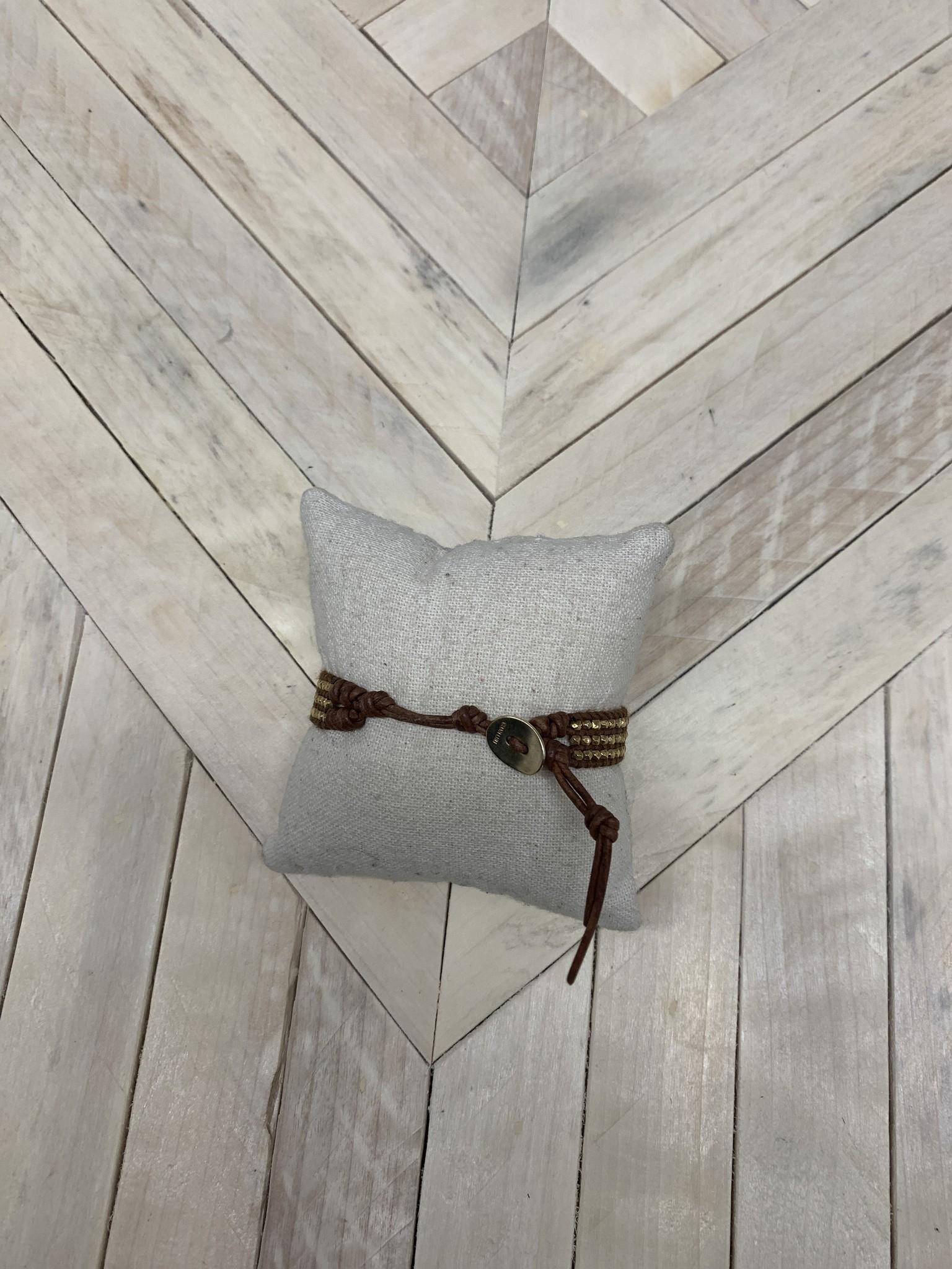 Chan Luu Beaded Bracelet Tan/Gold