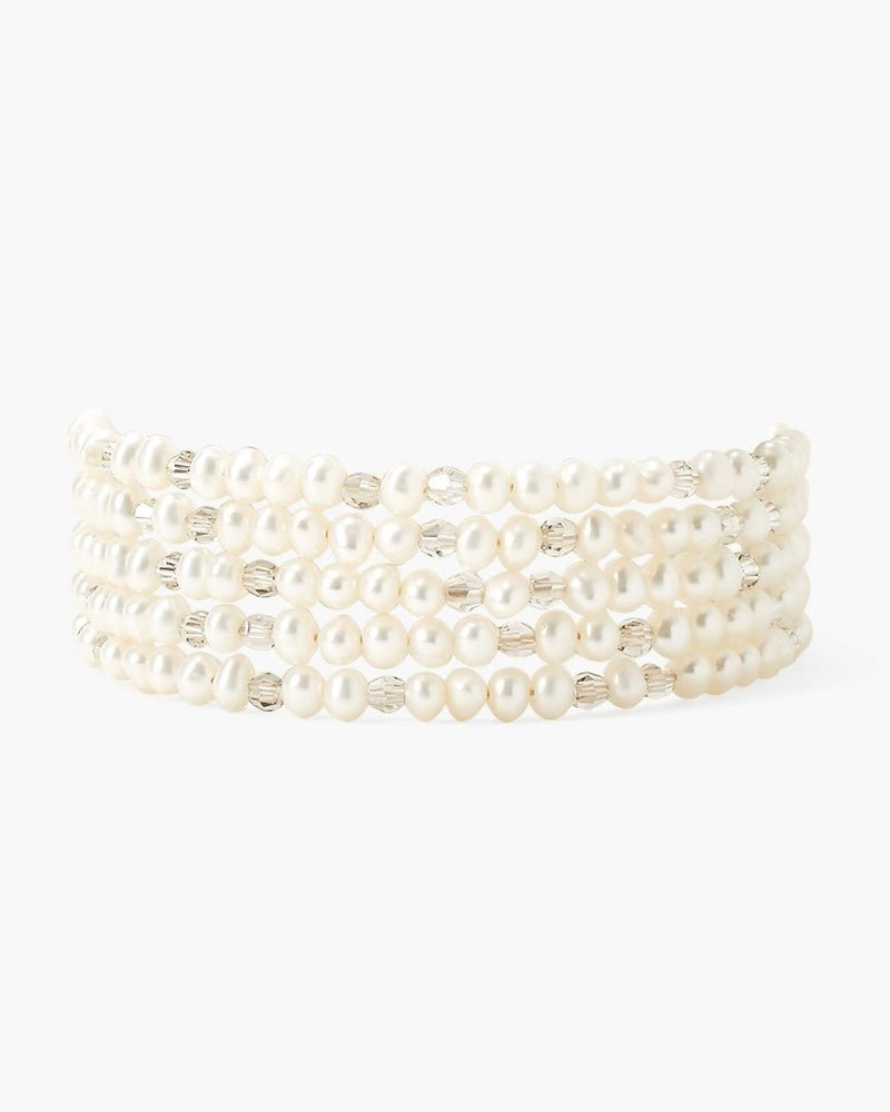 Chan Luu White Pearl and Crystal Naked Wrap Bracelet