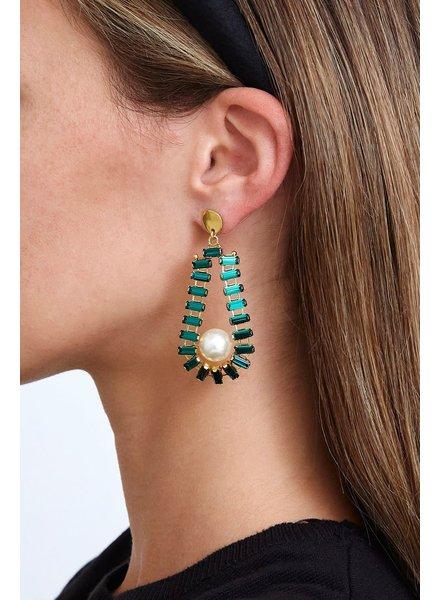 Chan Luu Emerald & Pearl Teardrop Earring
