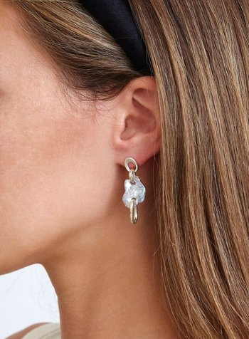 Chan Luu Silver & Pearl Chain Link Earrings