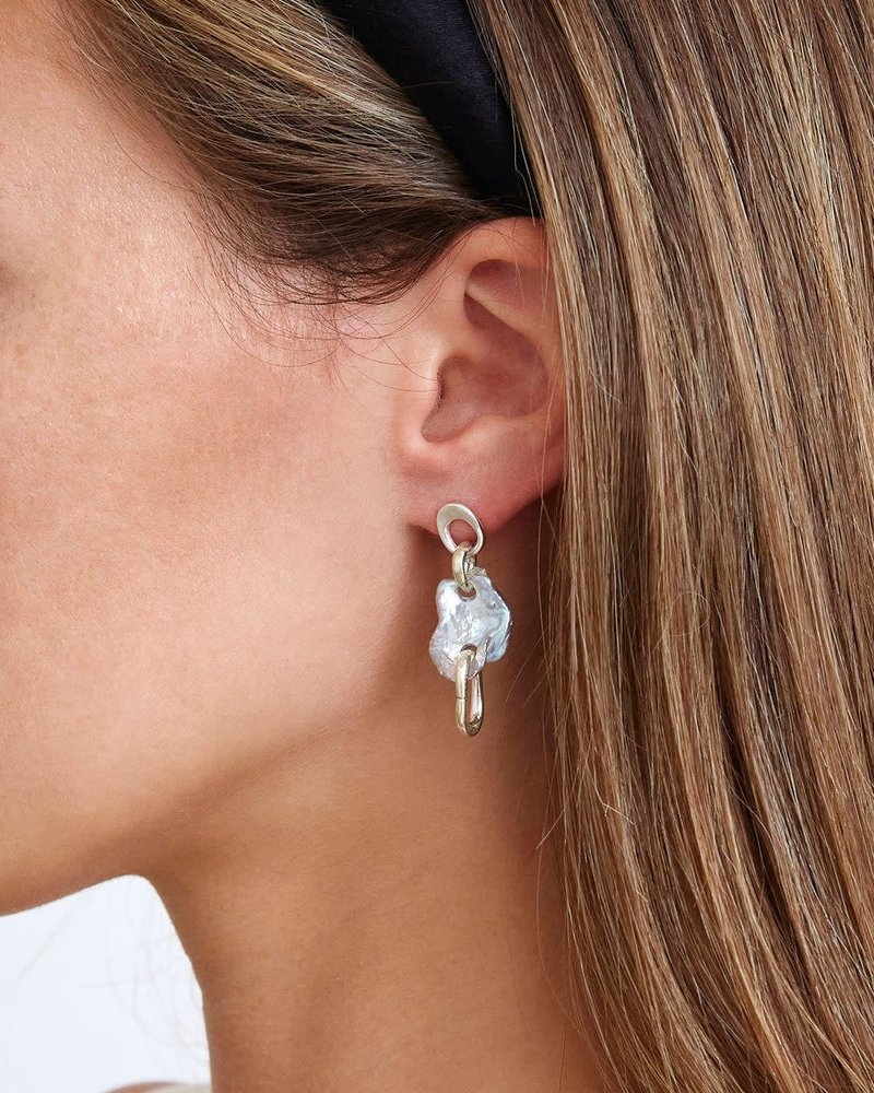 Chan Luu Silver & Pearl Chain Link Earrings