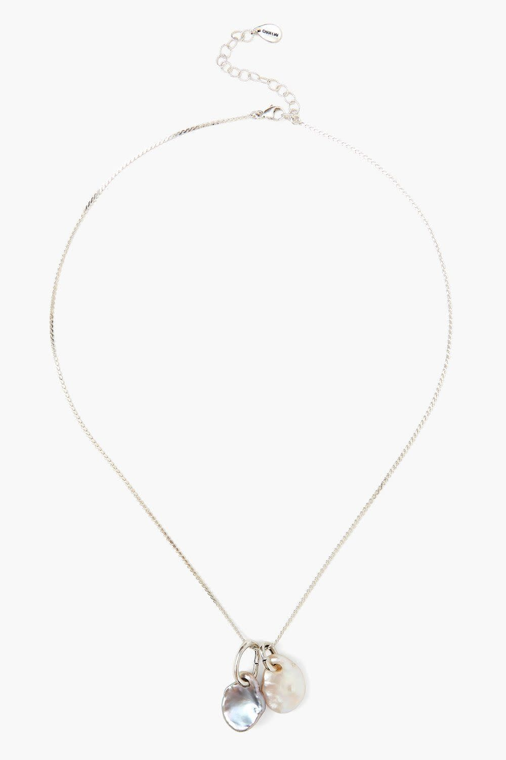 Chan Luu Double Pearl Silver Pendant Necklace