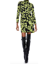 Alice + Olivia Delora Fitted Turtleneck Mini Dress