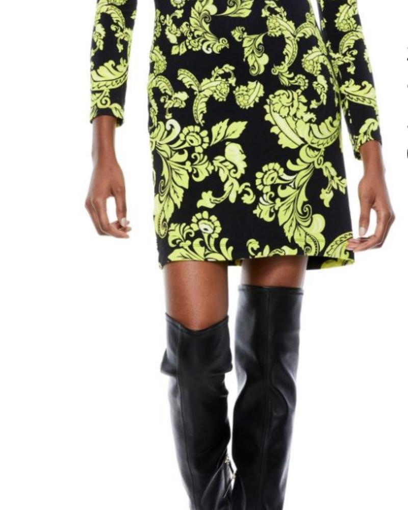 Alice + Olivia Delora Fitted Turtleneck Mini Dress