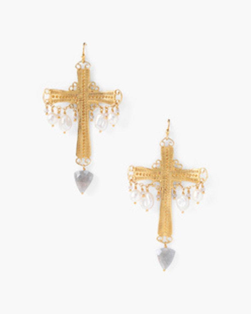 Chan Luu Gold Cross Earrings W/ Pearls