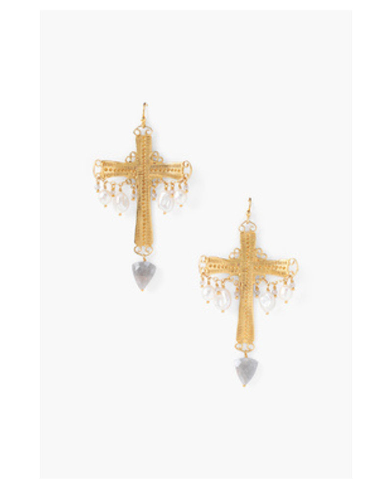 Chan Luu Gold Cross Earrings W/ Pearls